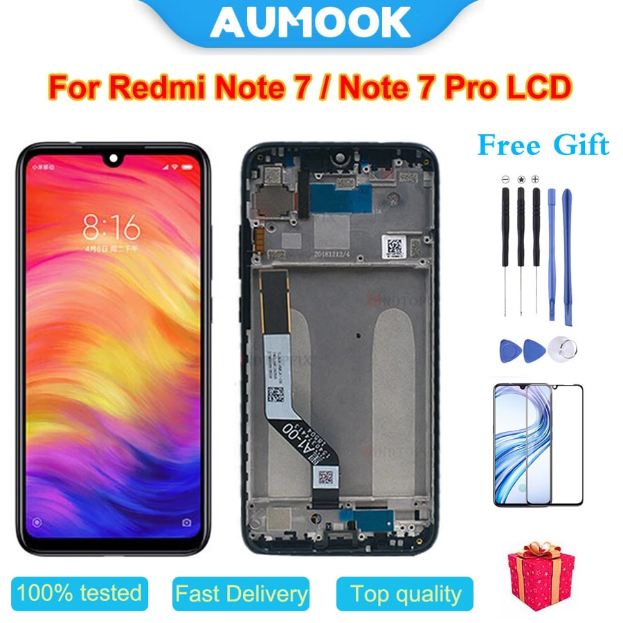AUMOOK Touch Original for Xiaomi Redmi Note 7 Display LCD Screen Replacement Parts with Frame Pro
