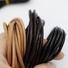 2 m/lot 1.5 2 2.5 3 4 5 6mm 3 couleur véritable cuir de vache ronde String cordon Bracelet à bricoler soi-même résultats corde corde pour la fabrication de bijoux