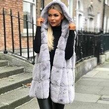 Mujeres sin mangas chaleco con capucha abrigo Otoño Invierno sólido cálido largo abrigo de lana mujeres prendas de vestir chalecos abrigo para mujer de talla grande