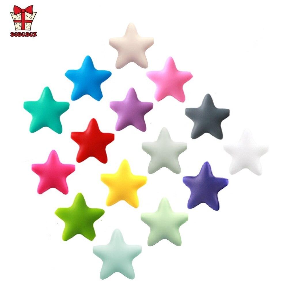 BOBO.BOX 10 шт., Звездный силиконовый бисер ребенок прорезывание зубов без BPA силиконовые шарики для прорезывания зубов пищевого качества, детский жевательный прорезыватель, ожерелье, сделай сам