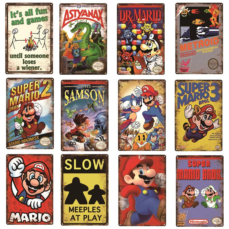 AliExpress - Caution Video Games Angry Games Decor Metal Poster Super Mario Series Vintage Tin Sign Gaming Plaque