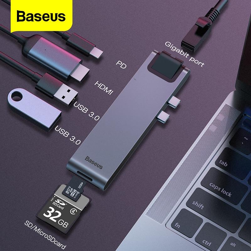 Baseus usb tipo c hub c para hdmi rj45 ethernet multi usb 3.0 thunderbolt 3 adaptador de energia para macbook pro ar USB-C divisor doca