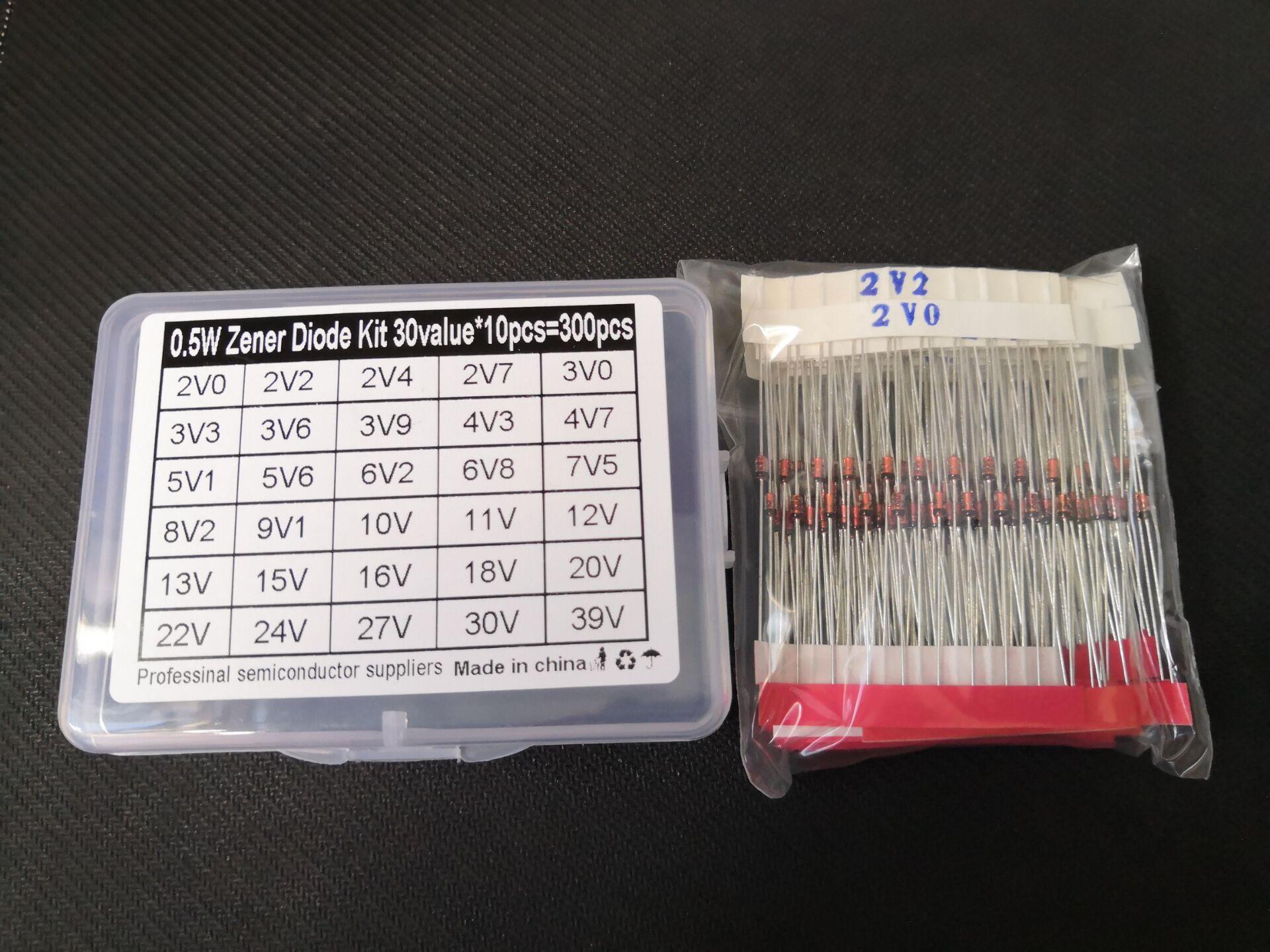 Aliexpress - 300PCS=30Values*10pcs 2V~39V Diode kit 0.5W Zener Voltage Regulator 39V 30V 27V 24V 22V 20V 18V 16V 15V 13V 12V 11V 10V..Assort