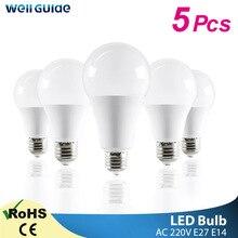 1/5 pièces LED ampoule E14 E27 lampes LED 3W 6W 9W 12W 15W 18W 20W AC 220V 240V lumière blanche lampara aluminium lampes de Table lumière Bombillas