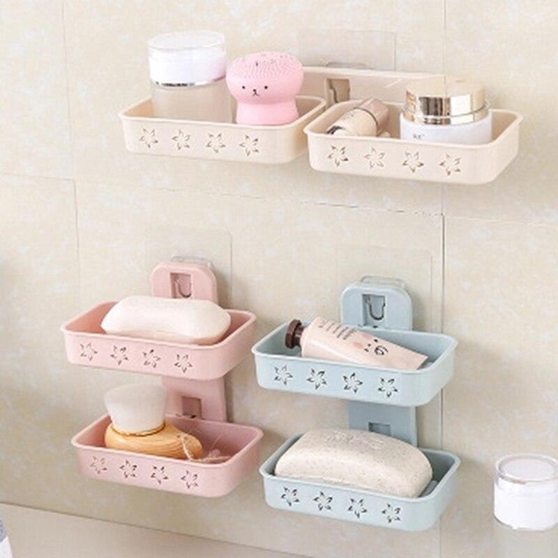 Bathroom Hook Up Shower Soap Box Dish Storage Plate Tray Holder Case Soap Holder Double Wall Shelf Storage Rack Sponges Shelf