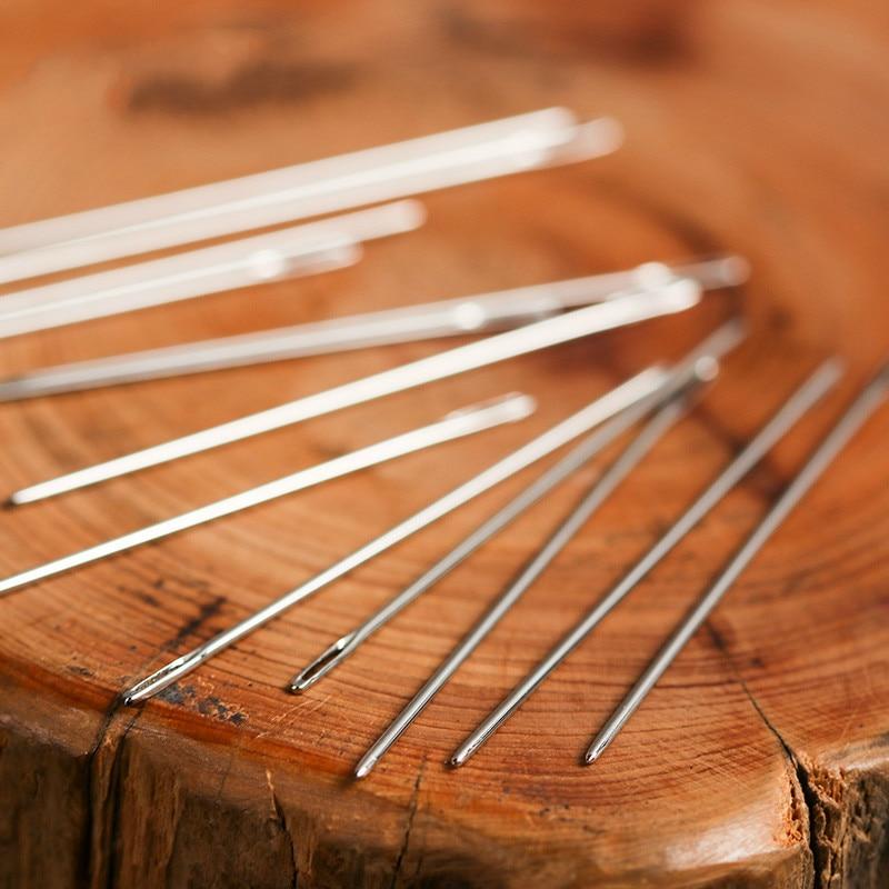 12 unids/bolsa de cuero de mano agujas de artesanía de cuero DIY acero inoxidable en forma de Pin puntada diámetro 0,9/1,05mm costura