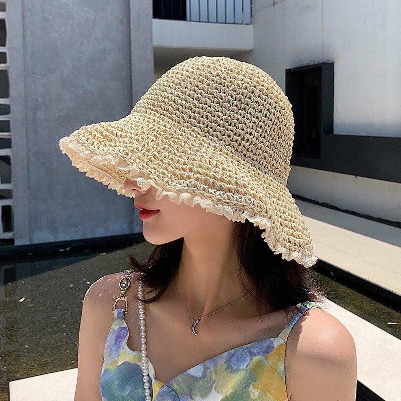 Панама женская однотонная с кружевом, Модная Складная Панама в японском стиле, смешанное полотно в Корейском стиле, модная