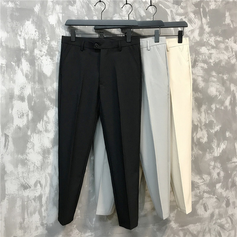 Summer new men's trousers, casual pants, thin and breathable Korean version of slim nine-point pants casual classic men's brand