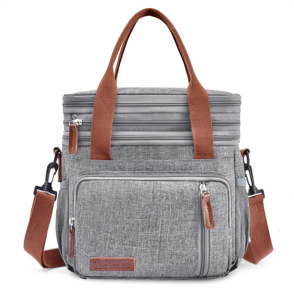 Bolsa refrigeradora, bolsas de hombro grandes, caja de hielo de doble cubierta, bolsa de hielo portátil para Picnic, bolsas aislantes de alimentos, caja de picnic de papel de aluminio