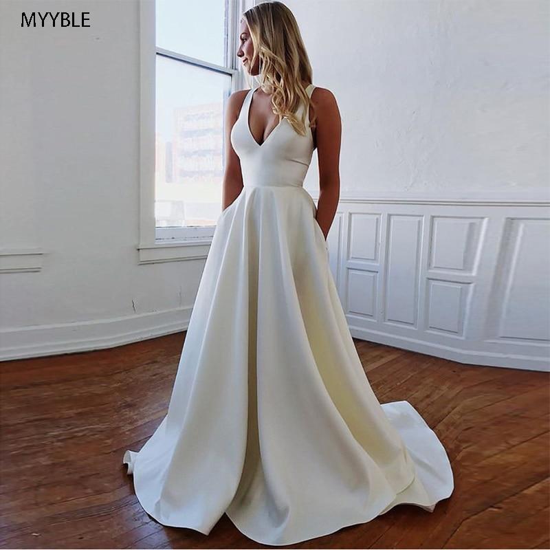 MYYBLE-vestido de novia con cuello en V, Simple, 2021, sexis, de playa,...