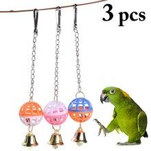 3 pièces perroquet jouets bois oiseaux debout support à mâcher jouets perle boule cloche Cage suspendus perroquet jouet oiseau jouets accessoires fournitures