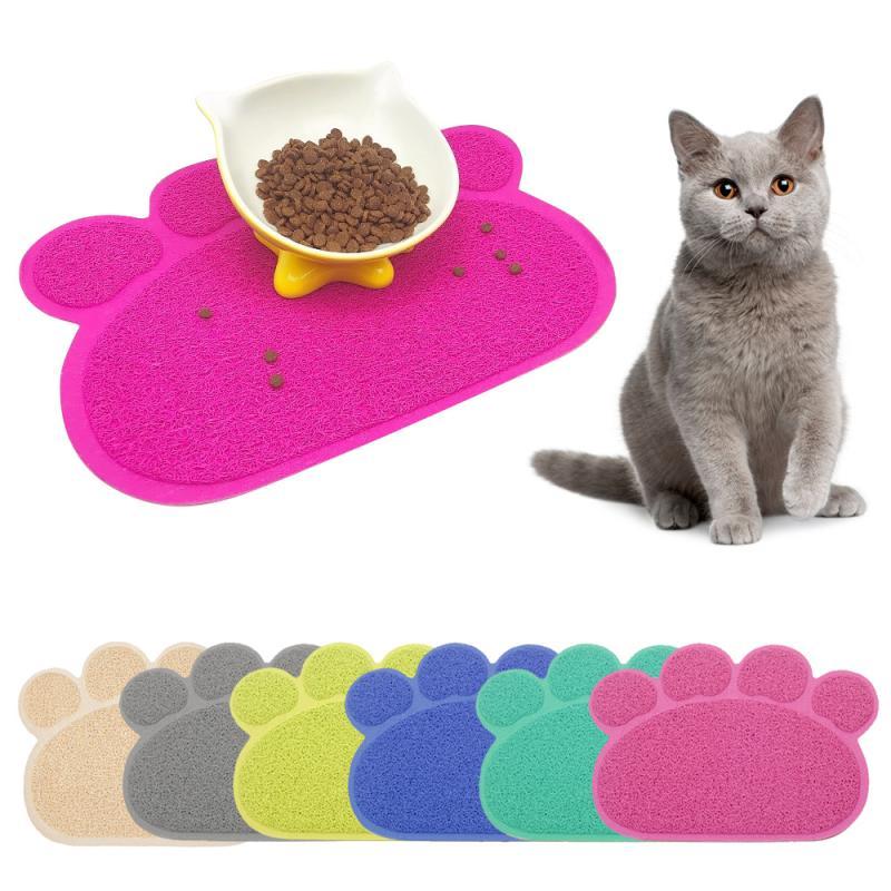Alfombra de cama Gato impermeable, alfombra de cama plegable de PVC para gatos, alfombra de cama antideslizante inferior para Gato, alfombra de cama para alimentar cachorros, cuenco para gatito