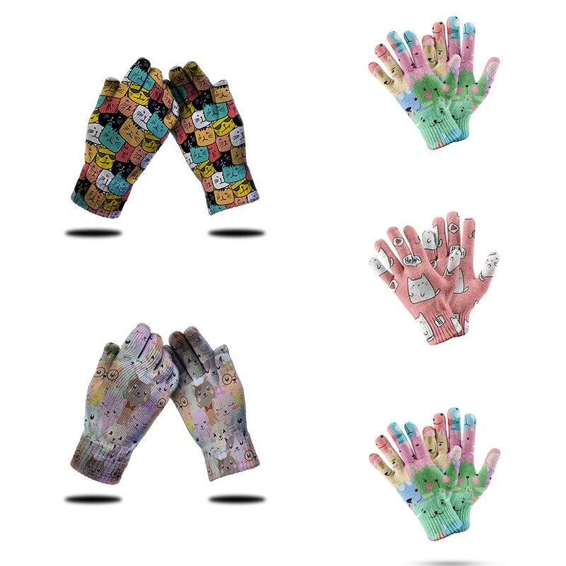 Новые стильные вязаные перчатки для сенсорных экранов женские мини животные милые рукавицы мультфильмы всесезонные спортивные мужские пе...