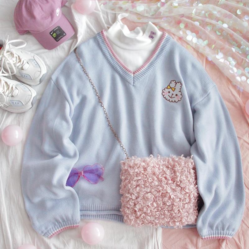 Retro cuello en V mujeres lindo suéter azul conejo Kawaii bordado niñas punto puente invierno suelto mujer Jersey señoras punto