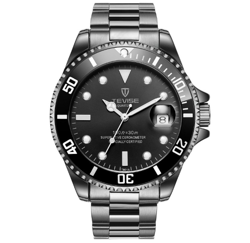 TEVISE Quartz Hardlex Mens Watch Calendar Luminous Water Ghost Life Waterproof Masculine Wristwatche