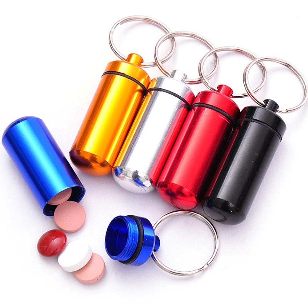 Joylife Mini llavero de viaje a prueba de agua, caja de almacenamiento para pastillas medicinales, caja de almacenamiento para tableta, contenedor, organizador, soporte dispensador