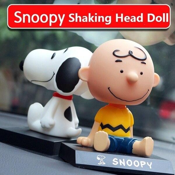 Coche para muñecos Snoopy divertido modelo de juguete que agita la cabeza adornos para coche accesorios de decoración para automóviles