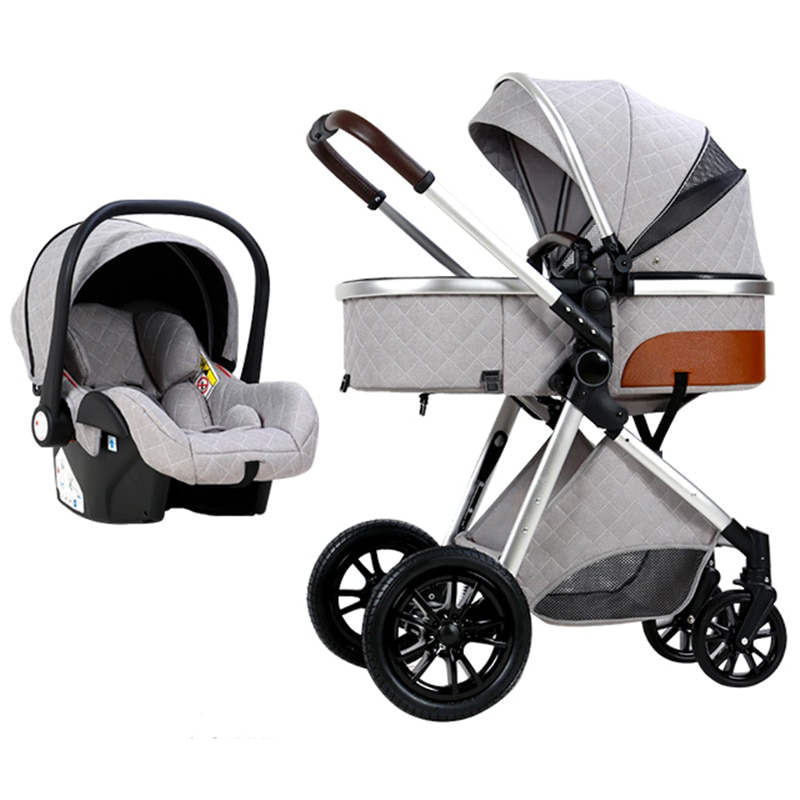 Multi-functional 3 in 1 Baby Stroller High Landscape Folding Baby Cart Portable Pushchair Infant Carriage Leather Baby Cradel enlarge