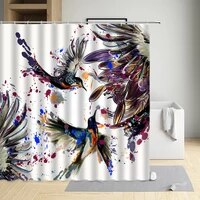 colorful bird feather modern eco friendly fabric polyester waterproof cloth curtain bathtub decor bath screen with hooks