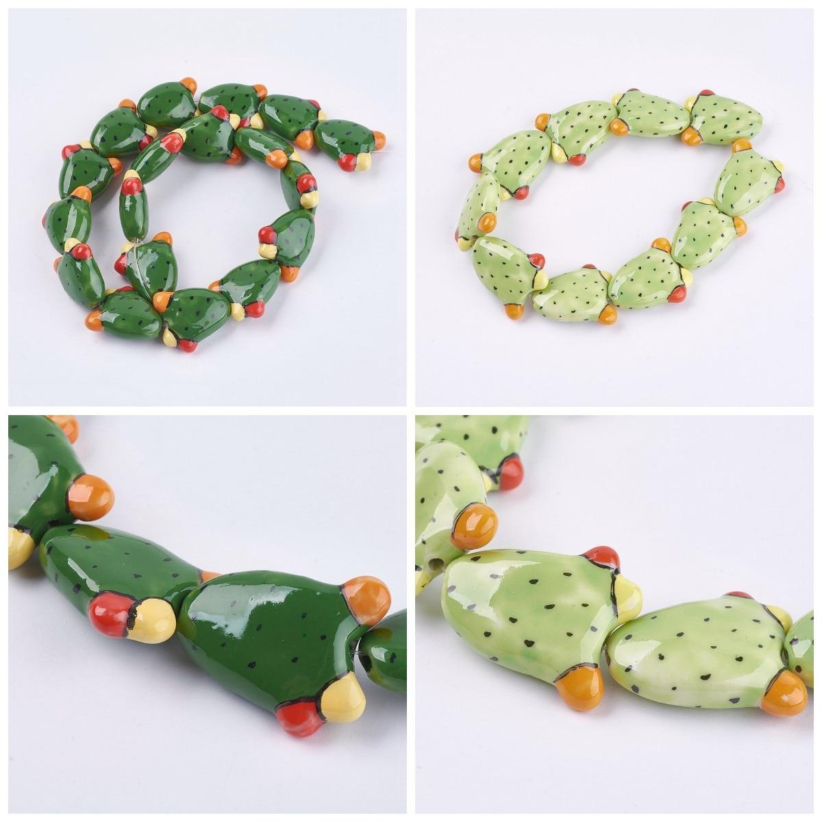 10 шт., фарфоровые бусины в виде кактуса
