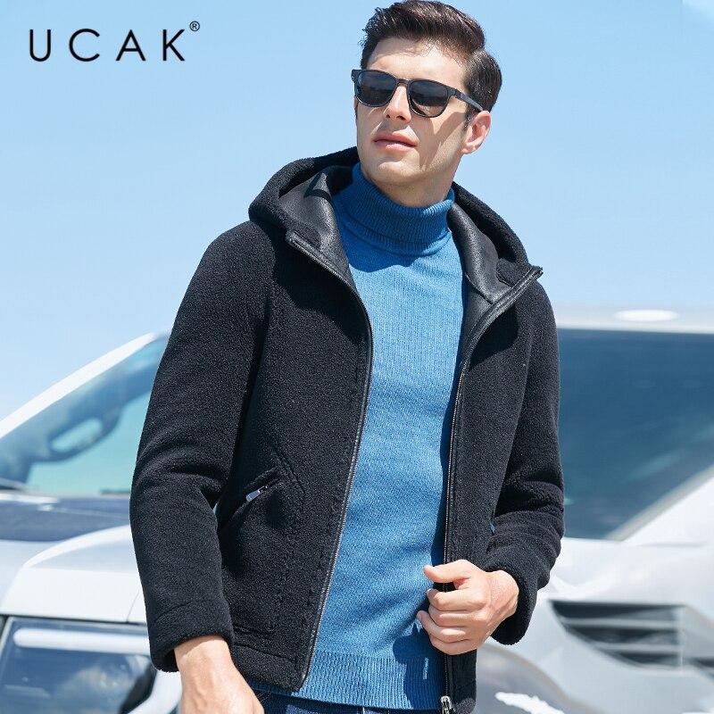 Pellet Wool Overcoat UCAK Brand Classic Solid Cloth Coat Fashion Streetwear Hooded Jackets Men Clothing 2020 Winter New U8020
