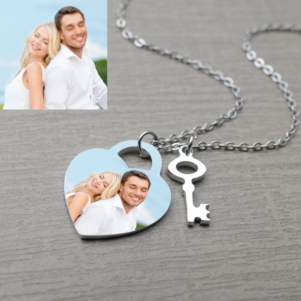 Personalized Photo Necklace,Engraved Heart Necklace for Her,Custom Photo&Text Necklace for Girlfriend's Gift,Valentines Day Gift 925 sterling silver custom pendant necklace diy photo engraving necklace custom personalized gifts drop shipping ylq0845