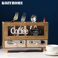 wooden box storage cabinet desktop chest of drawer coffee spoon storage box office stationary organiser