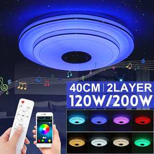 120W/200W 40cm 2 Layer RGB LED Ceiling Lamp Home Lighting APP bluetooth Music Light Bedroom Smart Ceiling Light+Remote Control