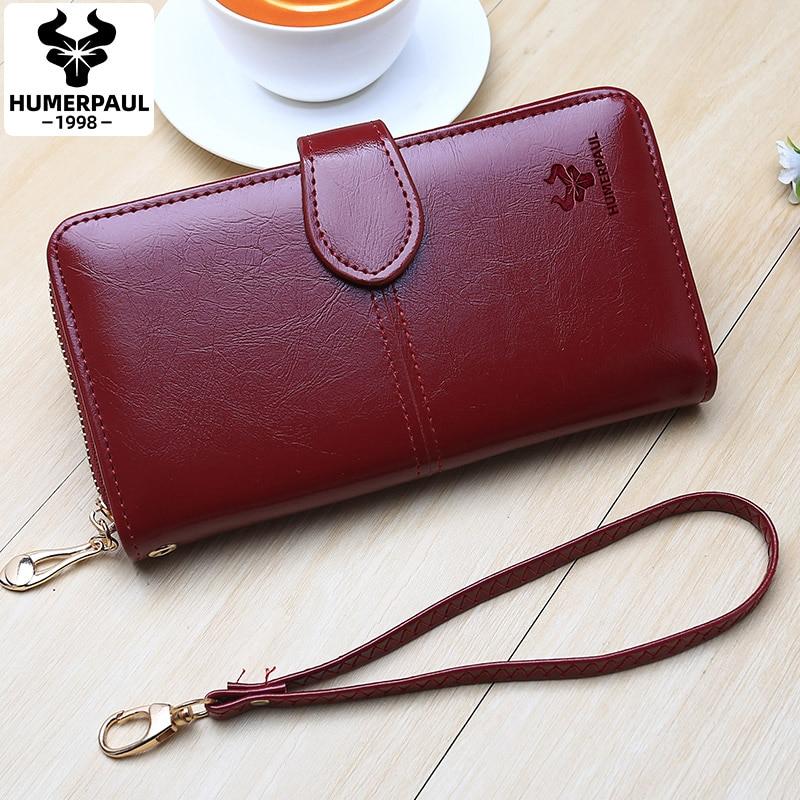 New Women Oil Wax Leather Wallet Female Purses Long Multi-functional Hasp Zipper Purse Ladies Wristlet Clutch Coin Card Holders