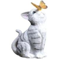 cat statues butterfly solar light garden decor outdoor resin statue animal sculpture decorative landscape lights