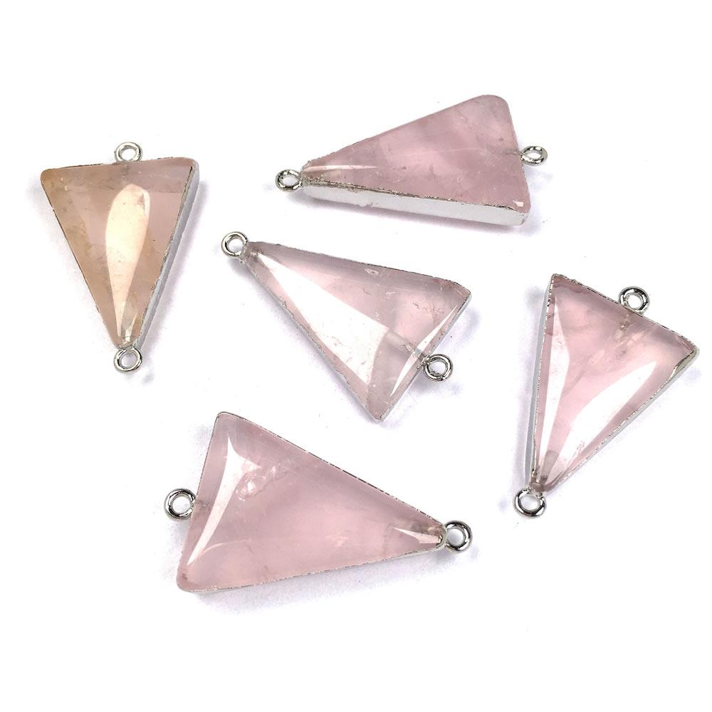 Triángulo colgante de cuarzo rosa colgante para Reiki curación piedra semipreciosa amuleto DIY joyería regalo tamaño 20x35mm