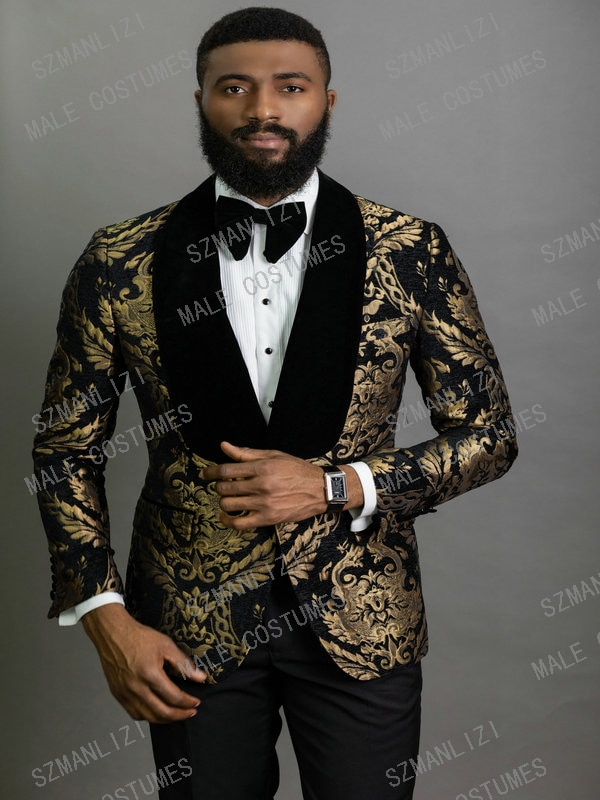 2020 элегантные модные черные золотые мужские костюмы с цветочным рисунком костюм жениха из 2 предметов смокинг пиджак свадебные костюмы для мужчин лучший мужской блейзер