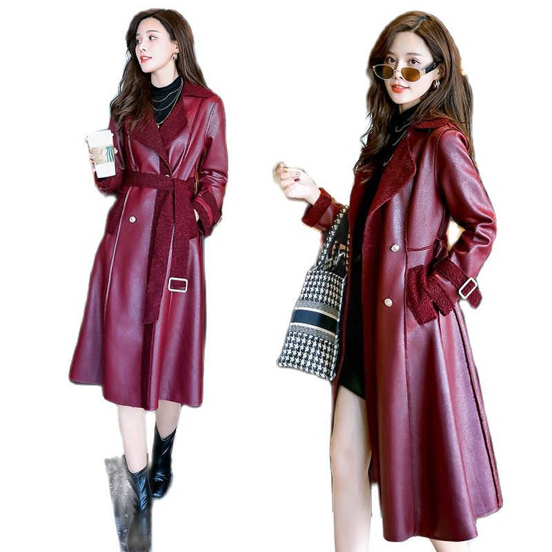 2021 women long PU overcoat over-the-knee long fur one coat lapel strap coat oversize leather jacket brown leather jacket women