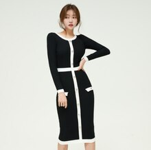 Qiu dong الزي جديد الربط عثرة اللون الرقبة المستديرة طويلة الأكمام فستان منسوج في الإناث حقيبة الورك تنورة