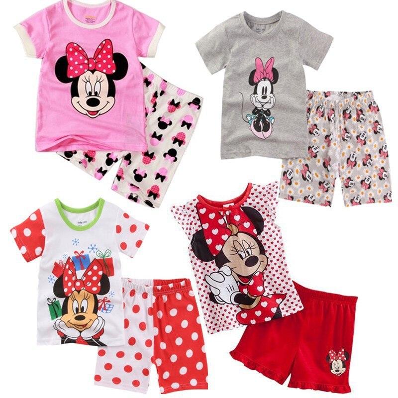 2020 nuevo verano niños pijamas de algodón de manga corta niñas ropa de dormir dibujos animados impresos niños pijamas conjunto lindo chándal de bebé 2-7 años