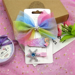 9PCS/3Cards Rainbow Elegant Baby Girls Clips Leather Bow Child Tie Knot Creativity Handmade Hairpins Hair Accessories For Kids