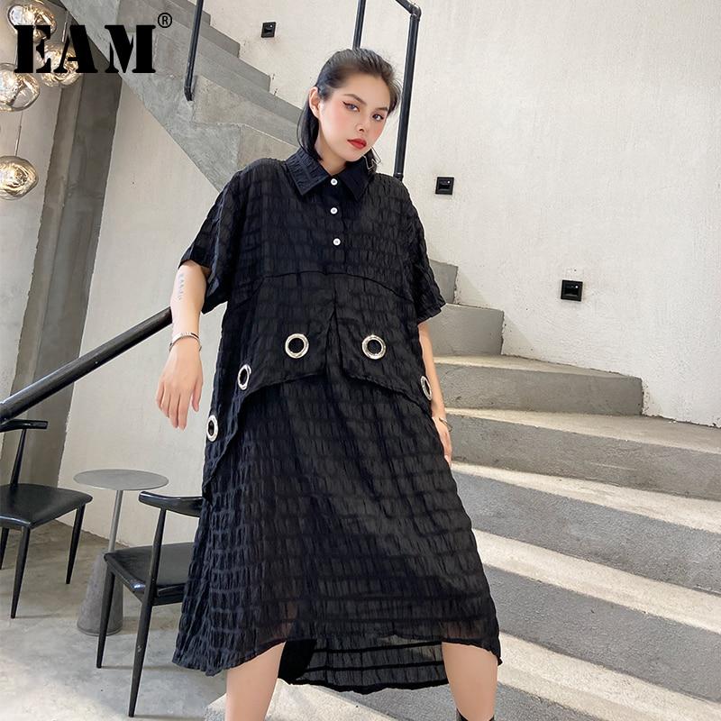 [EAM] Women Black Pleated Split Big Size Shirt Dress New Lapel Half Sleeve Loose Fit Fashion Tide Spring Summer 2020 1U920