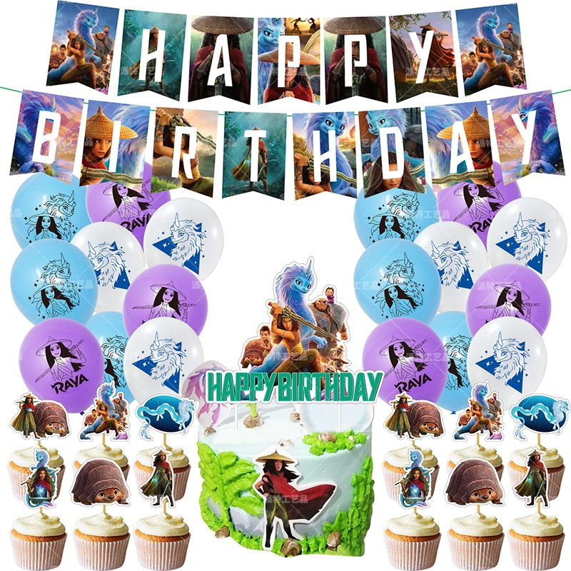 Raya and The Last Dragon Birthday Party Tool Props Straw Banner Cake Party Supplies Wedding Decoration Boys Surprise Balloons