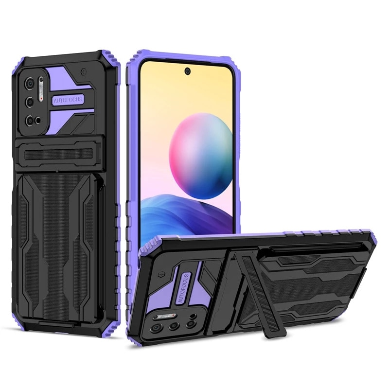 For Xiaomi Redmi Note 10 Pro Max Case Card Slot Bracket Stand Holder Shockproof Armor Phone Case for