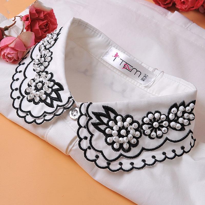 Женские съемные воротники с вышитыми бусинами и фальшивым воротником, женские белые накладные воротники с вышивкой, съемные блузки