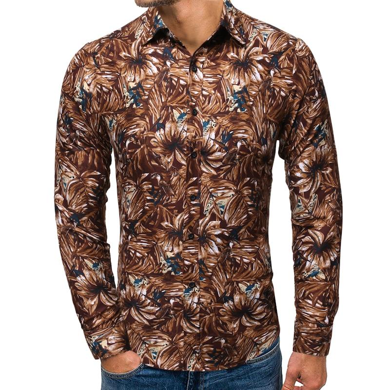 Mens Fashion 2019 Spring Autumn New Slim Fit Long Sleeve Hawaiian Shirt Men Casual Beach Casual Floral Shirts Male Camisa Hombre