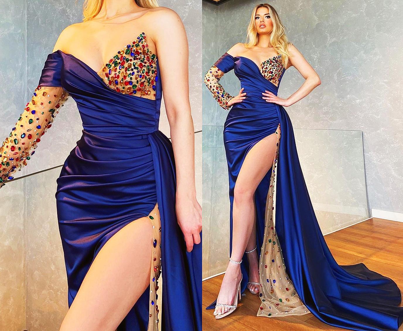 Plus Size Arabic Aso Ebi Navy Blue Prom Dresses Sweetheart One Shoulder Beaded Crystals High Split F
