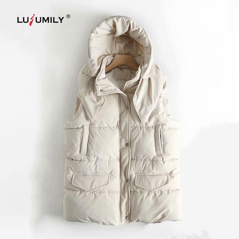 Lulumily, Otoño Invierno, chaleco sin mangas informal para mujer, chaqueta, chaleco acolchado de algodón grueso muy cálidas, abrigo, Parka femenina, Chaleco corto