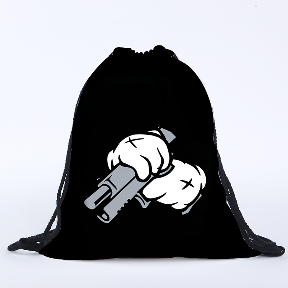 Mochila con cordón para niños y mujeres, bolsa de almacenamiento de bolsillo con impresión 3D de pistola, bolsa de deportes, mochila con cordón, mochila worek plecak sznurek