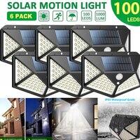 Уличный светильник s с питанием от солнечной батареи, 100 светодиодов, широкоугольный беспроводной светильник льник IP65 для сада, стены, улицы