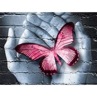 5d diy full square round resin diamond painting butterfly in hand cross stitch embroidery mosaic home wall decoration