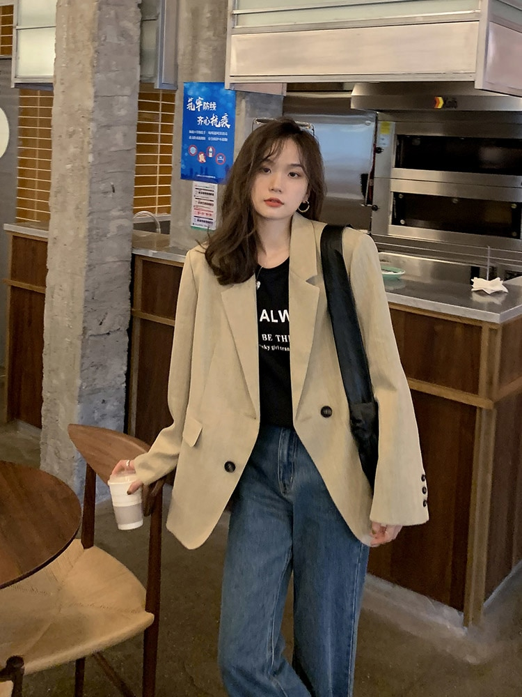 San Francisco Khaki Suit Coat Women's Spring and Autumn New Leisure Fried Street Middle Long Coat Wo