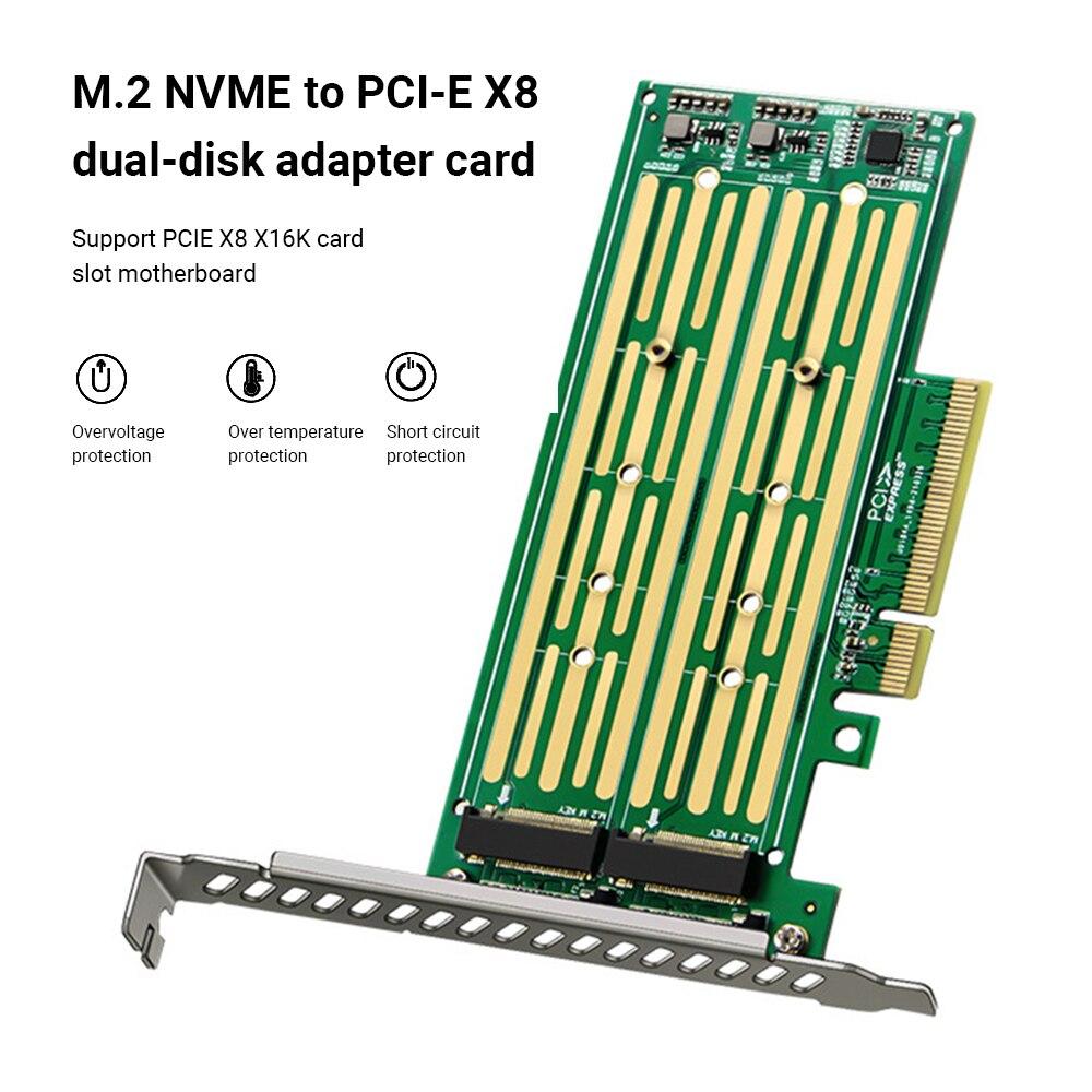M.2 بطاقة الناهض M.2 NVME إلى PCI-E X8 محرك القرص الصلب المزدوج SSD محول بطاقة التوسع ل PCIE X8 X16K فتحة اللوحة الأم