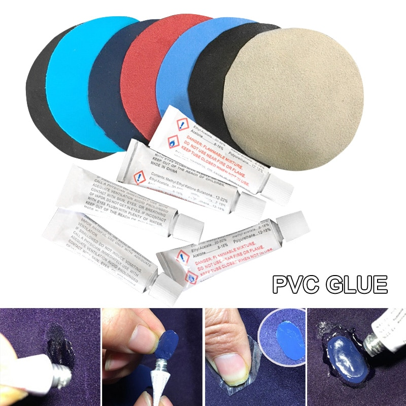 10 pçs pvc cola para colchão de ar inflar cama de ar barco sofá kit reparação remendos cola bhd2