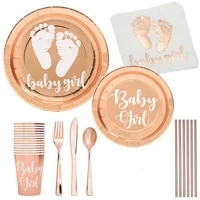 8pc baby girl disposable tableware baby girl paper napkin plate cup baby girl happy birthday party decor kids girl baptism supli